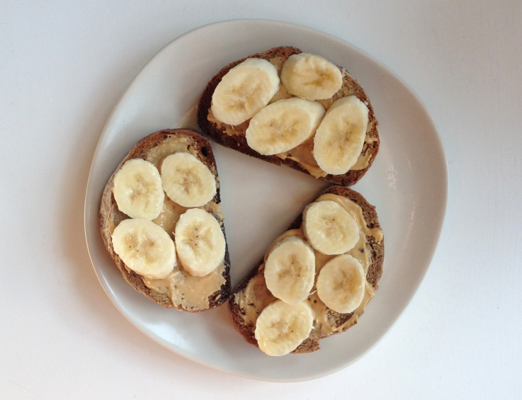 Banana and peanut butter on rye bread